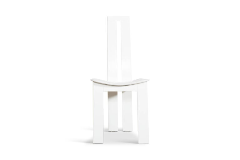 Italian Postmodern Pietro Costantini White Leather Dining Chairs For Sale