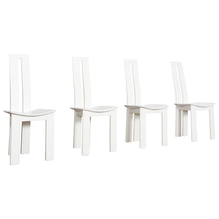 Postmodern Pietro Costantini White Leather Dining Chairs For Sale 2