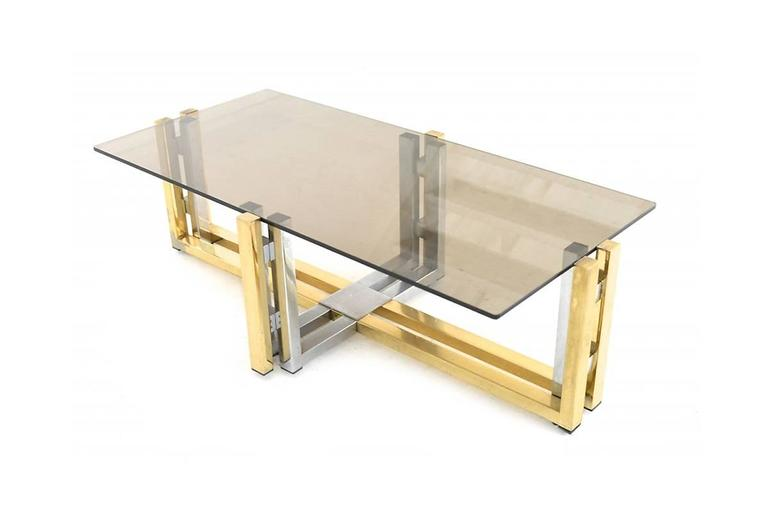 Late 20th Century BRASS & CHROME COFFEE Table