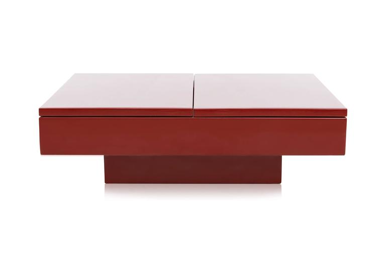 Hollywood Regency Red Lacquered Sliding Bar Coffee Table For Sale