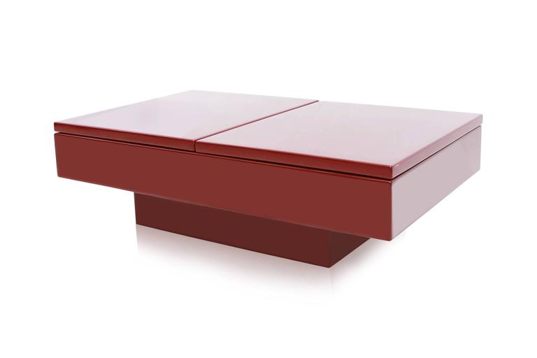 French Red Lacquered Sliding Bar Coffee Table For Sale