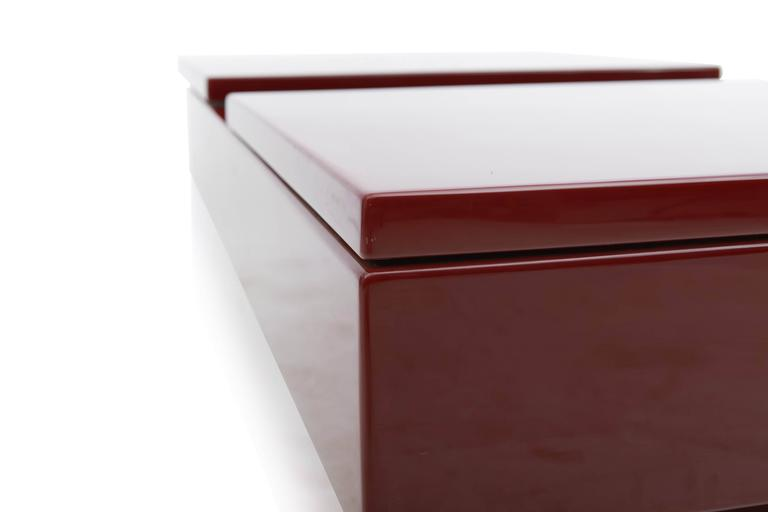 Late 20th Century Red Lacquered Sliding Bar Coffee Table For Sale
