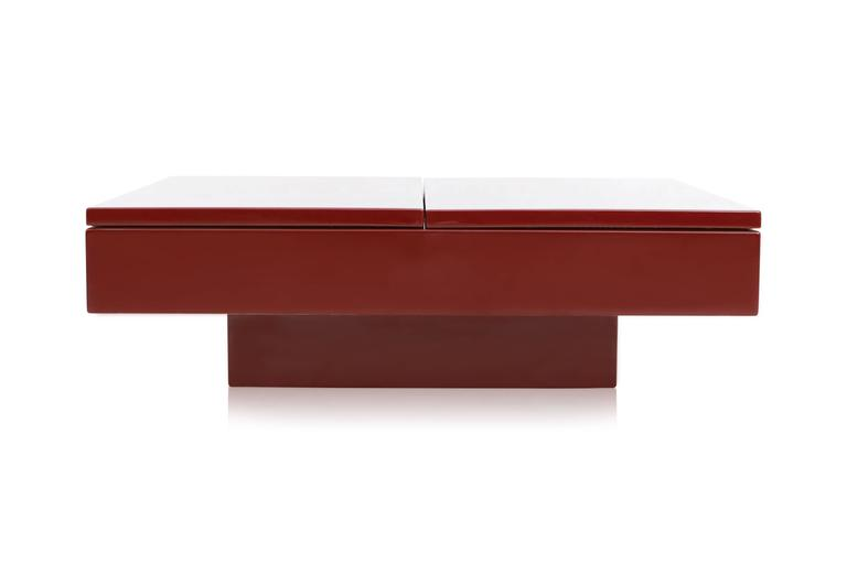 Red Lacquered Sliding Bar Coffee Table For Sale 1