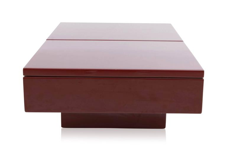 Red Lacquered Sliding Bar Coffee Table For Sale 2