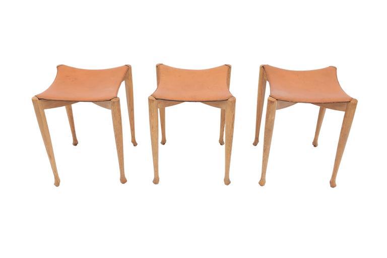 Spanish Oscar Tusquets Gaulino Oak Chair and Ottoman For Sale