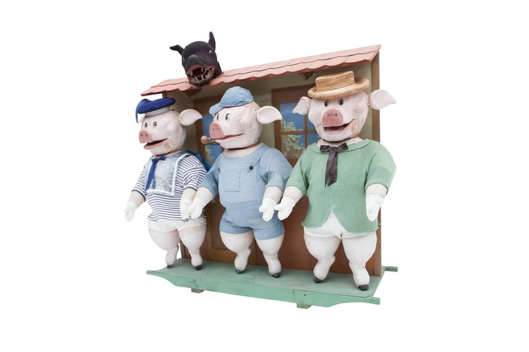 Italian Decorative puppetry displaying Joseph Jacobs fable Three Little Pigs 1930 For Sale