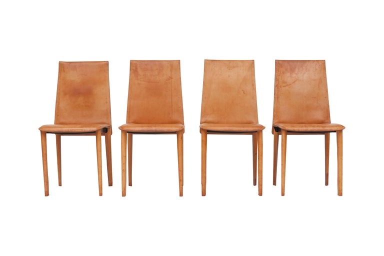 Set Of Nine Full Leather Italian Dining Chairs For Sale At