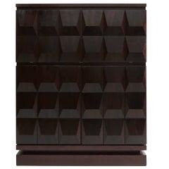 Brutalist Diamond Bar Cabinet in Dark Mahogany