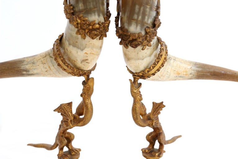 decorative antique pair of Mounted Horns For Sale 2