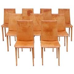 Set of Nine Full Leather Italian Cognac Dining Chairs