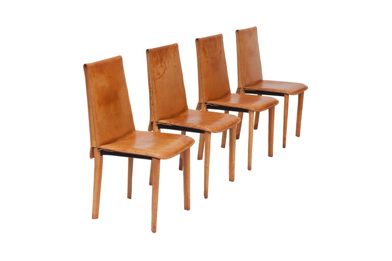 Set Of Nine Full Leather Italian Cognac Dining Chairs For