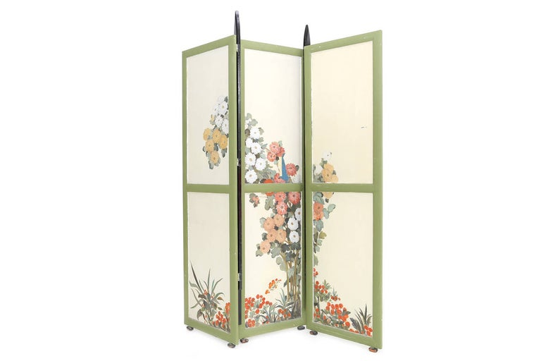 Important room divider with significant detailing of the Dutch 'Amsterdamse School' period.  Michel De Klerk might be the most renowned architect of this early 20th century period. Handpainted scenes on both sides.