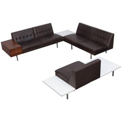 George Nelson Modular Sofa in Dark Leather for Herman Miller