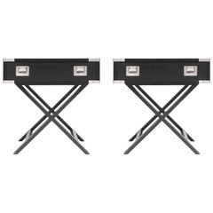 Ebonized Director Style Side Tables