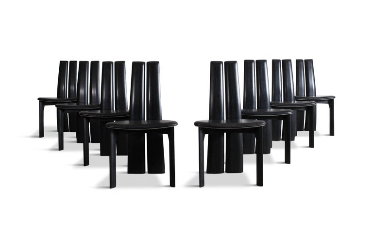 Late 20th Century Mid-century modern sculptural ebonized dining chairs, set of eight For Sale