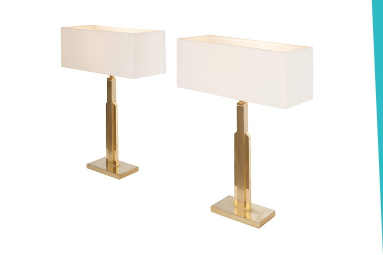 Hollywood Regency Pair of Maison Jansen Table Lamps with White Linnen Shades For Sale