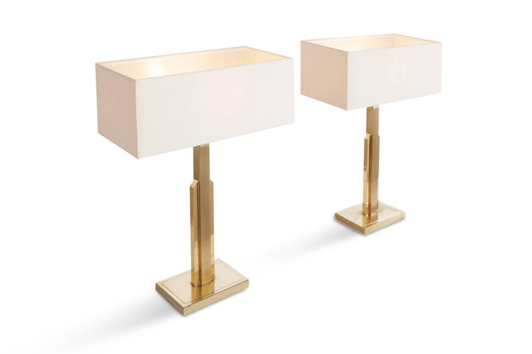 Pair of Maison Jansen Table Lamps with White Linnen Shades In Good Condition For Sale In Antwerp, BE