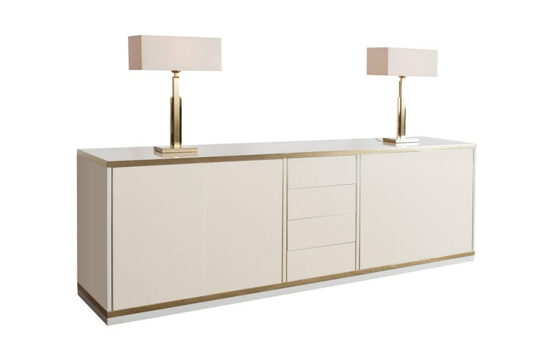 Linen Pair of Maison Jansen Table Lamps with White Linnen Shades For Sale