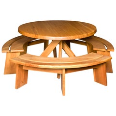 Pierre Chapo Elm Dining Table and Three Benches