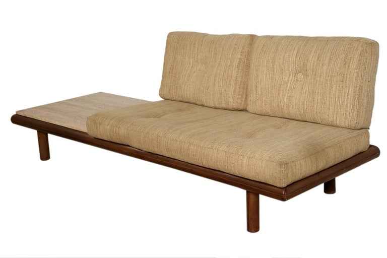 De Sede leather and travertine sofa.