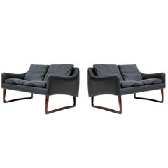 Pair of Rosewood and Leather Settees by Hans Olsen