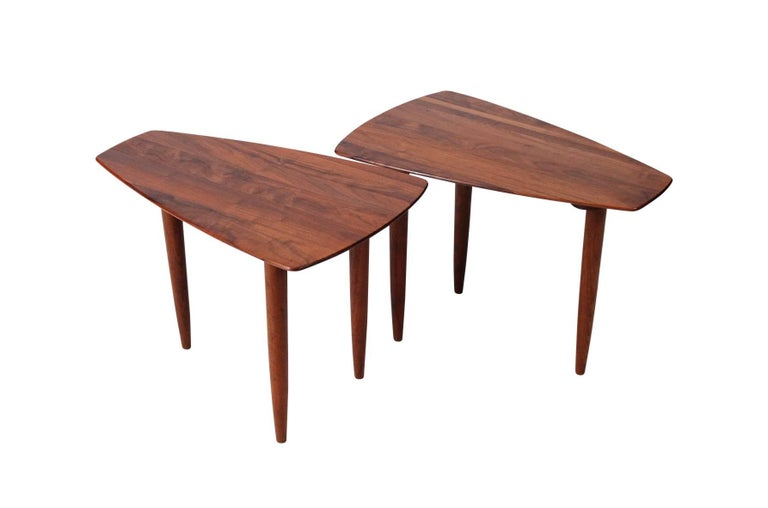 Pair of solid walnut California Modern side tables by Ace Hi from the Prelude line. Reminiscent of designs by George Nakashima. Original paper labels still present.