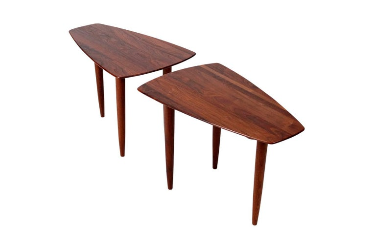 American Pair of Walnut Side Tables by Ace-Hi For Sale