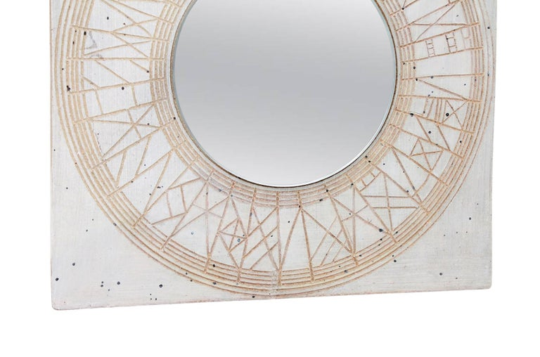Mid-20th Century William Wyman Studio Pottery Mirror For Sale
