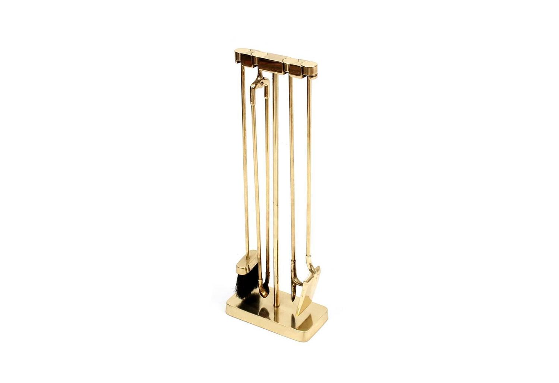 modernist brass fireplace tool set by virginia