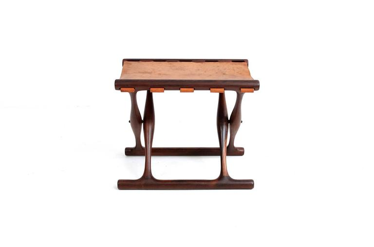 Poul Hundevad Rosewood Table and Folding Leather Stool In Excellent Condition For Sale In Belmont, MA