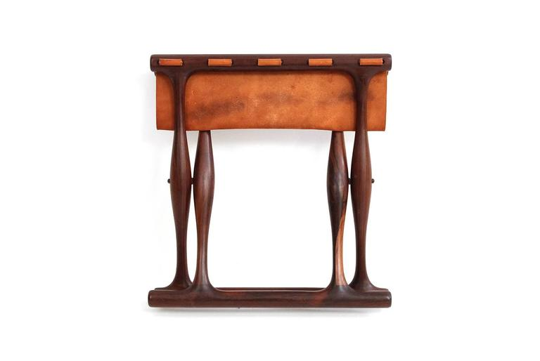 Mid-20th Century Poul Hundevad Rosewood Table and Folding Leather Stool For Sale