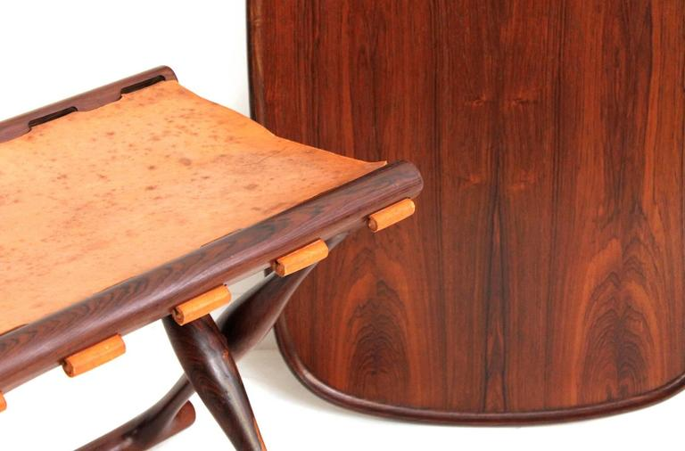 Poul Hundevad Rosewood Table and Folding Leather Stool For Sale 2