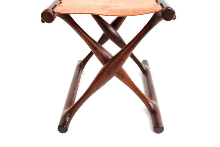 Poul Hundevad Rosewood Table and Folding Leather Stool For Sale 3