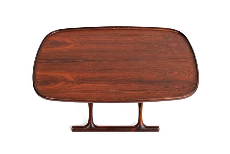 Scandinavian Modern Poul Hundevad Rosewood Table and Folding Leather Stool For Sale