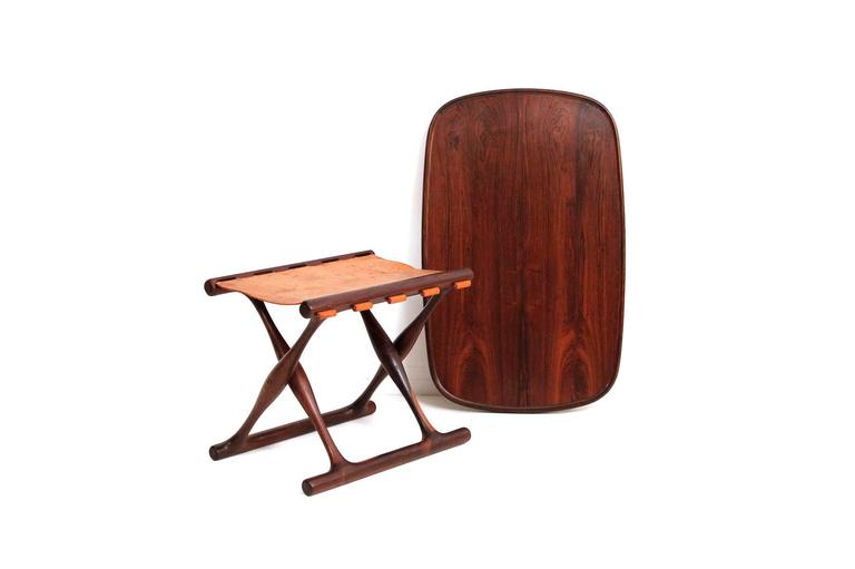 Danish Poul Hundevad Rosewood Table and Folding Leather Stool For Sale