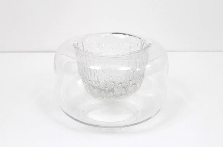 "Scandinavian Modern Large Timo Sarpaneva Iittala ""Finlandia"" Glass Bowl For Sale"