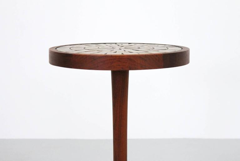 Martz for Marshall Studios Ceramic and Walnut Table In Good Condition For Sale In Belmont, MA