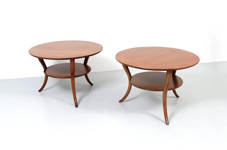 Mid-Century Modern Pair of T.H. Robsjohn-Gibbings Saber Leg Tables For Sale