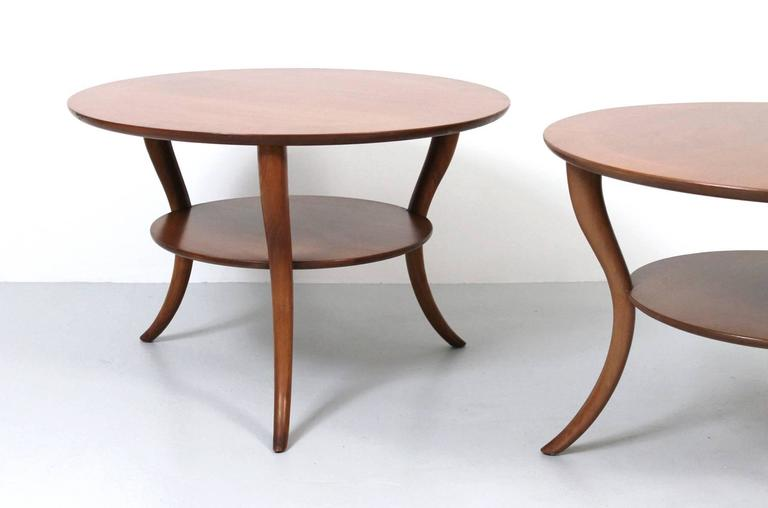 Pair of T.H. Robsjohn-Gibbings Saber Leg Tables In Good Condition For Sale In Belmont, MA