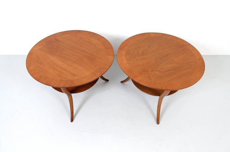 American Pair of T.H. Robsjohn-Gibbings Saber Leg Tables For Sale