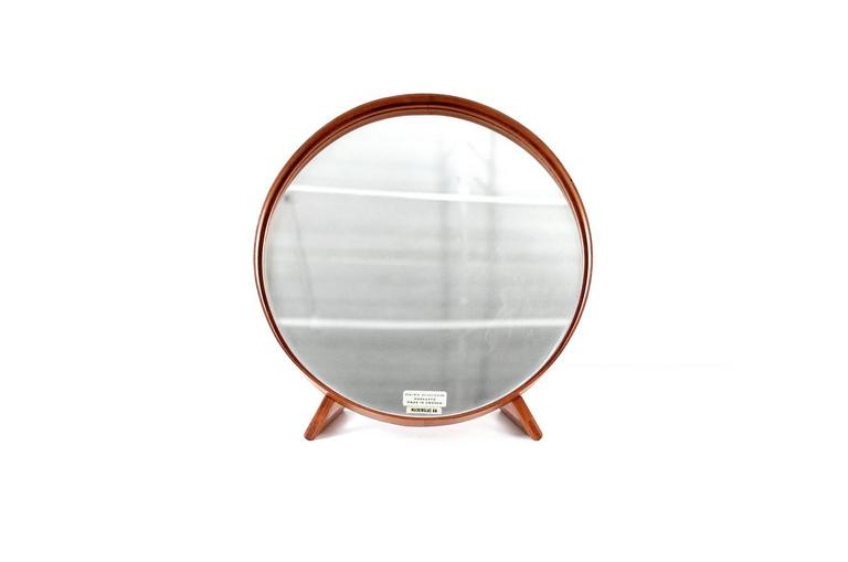 Teak table or vanity mirror designed by Uno & Osten Kristiansson for Luxus. Retailed by Markaryd Sweden.