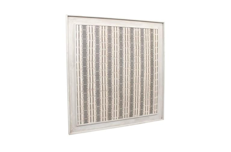 Impressive large-scale modernist textile in custom frame. This woven piece is reminiscent of work by Jack Lenor Larsen and British fibre artist Peter Collingwood.
