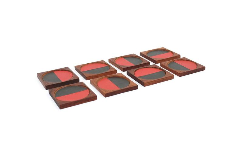 Scandinavian Modern Graphic Danish Teak Coaster Set by Laurids Lonborg For Sale