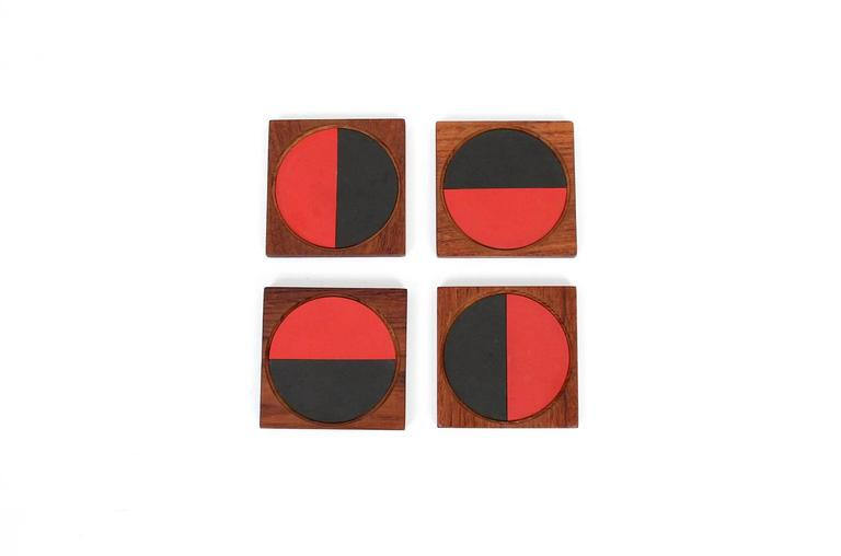 Graphic Danish Teak Coaster Set by Laurids Lonborg In Excellent Condition For Sale In Belmont, MA