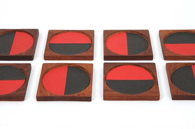 Graphic Danish Teak Coaster Set by Laurids Lonborg For Sale 1