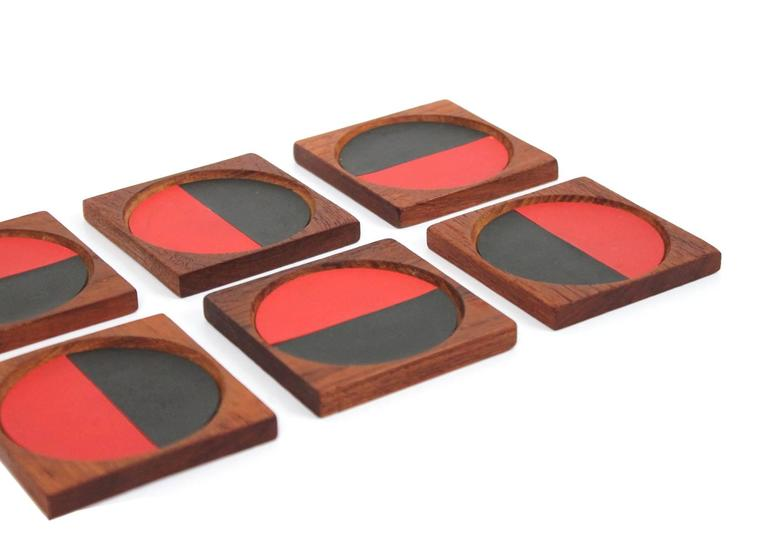 Graphic Danish Teak Coaster Set by Laurids Lonborg For Sale 2