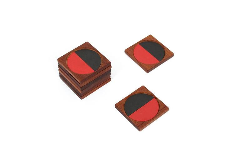 Laminate Graphic Danish Teak Coaster Set by Laurids Lonborg For Sale