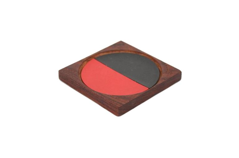 Graphic Danish Teak Coaster Set by Laurids Lonborg For Sale 3