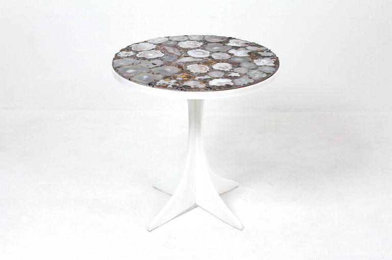 Miriam Rogers stone mosaic occasional table. Impressively graphic grey and orange mineral, stone, and geode top. Cruciform style white acrylic base. Miriam Rogers was a listed artist working on Cape Cod in the mosaic medium.
