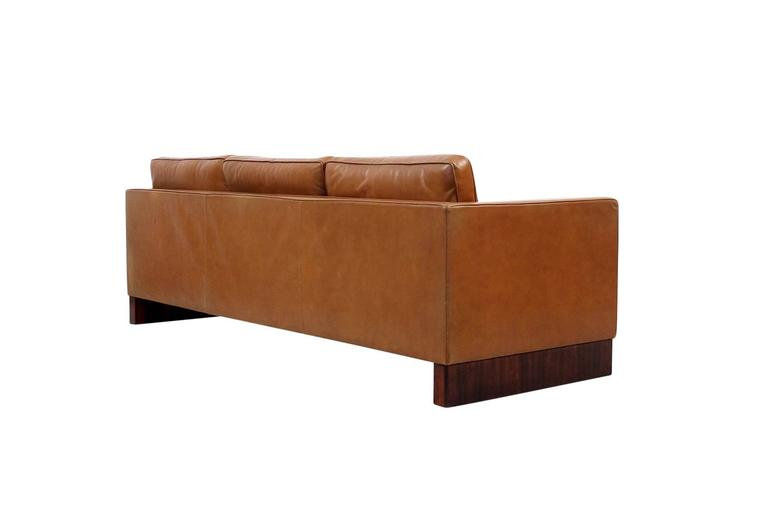 American Leather Sofa by Mies Van Der Rohe for Knoll For Sale